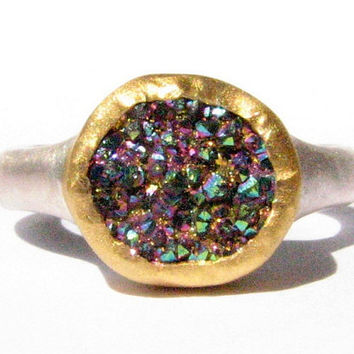 Rainbow Druzy Quartz Gemstone Ring - 24k Solid Gold and Silver Ring - Made to Order by Your Size.