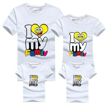 PEAPGB2 I love my Family T Shirts Summer Family Matching Clothes Father Mother & Kids Children Outfits Cotton Tees Girl Clothing Fashion