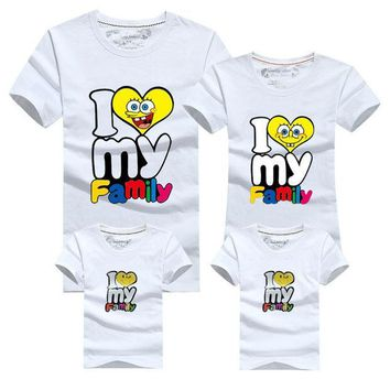 CREYHY3 I love my Family T Shirts Summer Family Matching Clothes Father Mother & Kids Children Outfits Cotton Tees Girl Clothing Fashion