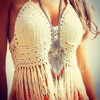 FASHION BEACH TASSELS HAND-WOVEN BRA