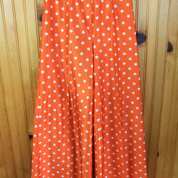 1970s Vintage Polka Dot Polyester Bell Bottom Pants, Orange and White, XS