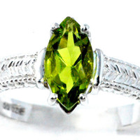 2 Carat Peridot Marquise Ring .925 Sterling Silver Rhodium Finish White Gold Quality