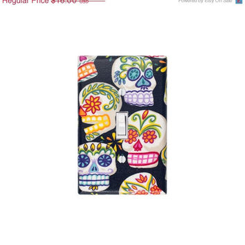 READY To SHIP SALE Day of the Dead Sugar Skull Light Switch Plate Cover / Kitchen / Jardin De Los Muertos / Alexander Henry