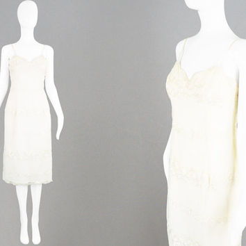Vintage FRANK USHER Dress 90s Party Dress 90s Slip Dress Embroidered Dress Sexy Strappy Dress Spaghetti Straps Cream Evening Dress 1990s