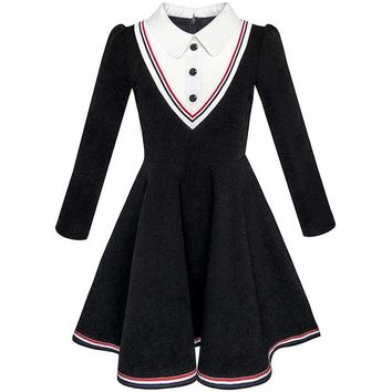 Sunny Fashion Girls Dress School Uniform White Collar Long Sleeve Striped 2018 Summer Princess Wedding Party Dresses Size 4-12