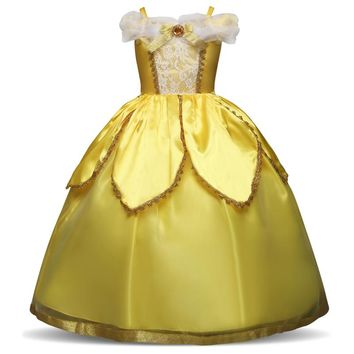 Girls Princess Fairy Dress Kids Shoulderless Yellow Party Cosplay Costume Children Girl Carnival Dress up Ball Gown