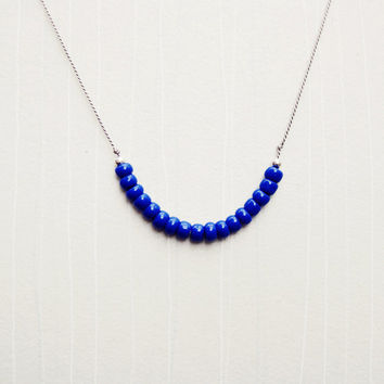 Petite Blue Glass Bead & Sterling Silver Pop of Color Necklace