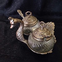 Oxidized - Attractive swan shaped mouth freshener container