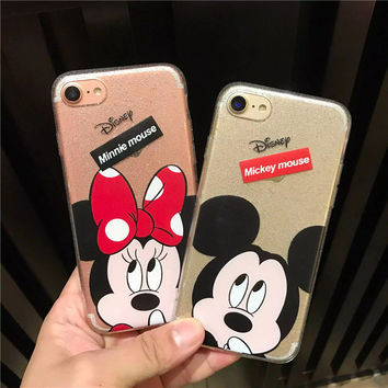 Luxury Clear Bling Gliter Mickey Minnie Mouse Phone Cases Fundas for iPhone 7 6 6S Plus SE 5S 5 All Protective Cover Coque