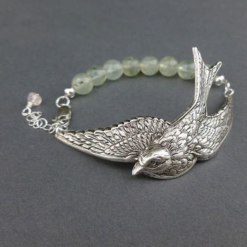 silver sparrow bracelet cuff with prehnite gemstone beads