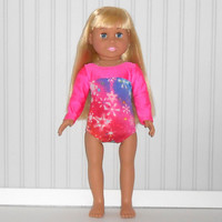 American Girl Doll Clothes Hot Pink Leotard with Rainbow Stripes Gymnastics/Dance Competition Leotard fits 18 inch Dolls