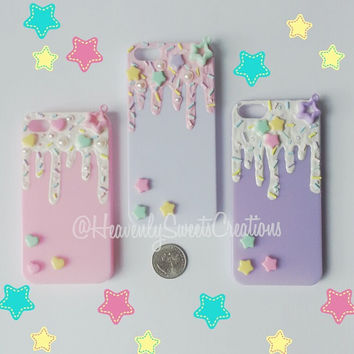 Hand painted ice cream Iphone 4/4s/5 case, melted ice cream, drizzle, decoden, kawaii, charms, pretty, cute, fun