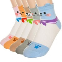Adorable Marine Sailor Animal Character Ankle Socks Pig Squirrel Bear Mouse Cat