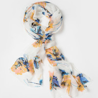 Mara Blue & Yellow Floral Scarf