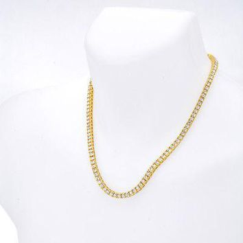 "Jewelry Kay style Men's Fashion Iced Out CZ 4 mm 20"" 14K Gold Plated Stone Tennis Chain Necklace"