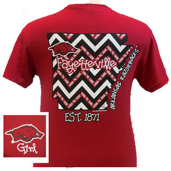 New Arkansas Razorbacks Girlie State Chevron Bright T Shirt