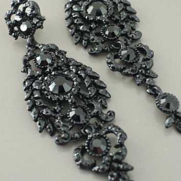 Victorian Earrings - Black Earrings - Crystal Earrings - Long Earrings - Chandelier Earrings - Stud Earrings