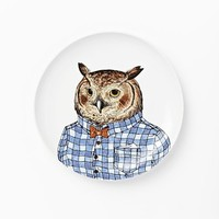 Dapper Animal Salad Plate, Owl