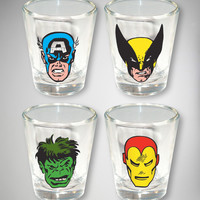 Marvel Faces 2 oz. Shot Glass 4-Pack