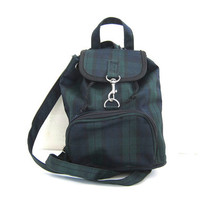 small Vintage blue and green plaid Backpack purse