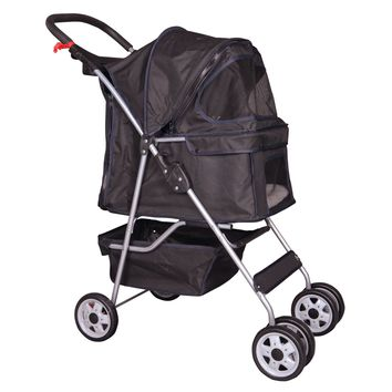 4 Wheels Pet Stroller Cat Dog Cage Stroller Travel Folding Carrier 5 Color 04T