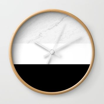 Marble Black White Wall Clock by ARTbyJWP