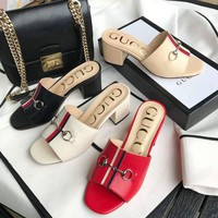 GUCCI Women Fashion Cow Leather High Heels Non-slip Sandals Slipper Shoes