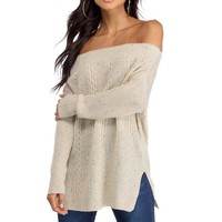 Natural Off The Shoulder Cable Knit Sweater