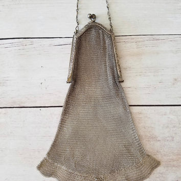 Art Deco Coin Purse/ Flapper Mesh Purse/ 1920's Mesh Purse/ Coin Purse/ Cigarette Purse/ Fine Chainmail Purse/ Evening Handbag/ Silver Mesh