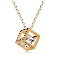 BWG Fashion Jewelry Floating Charms Austrian Crystal Silver Gold Plated Pendant Necklace For Women Jewelry Rubik's Cube Pendant Necklaces Online with $1.87/Piece on Vivian5168's Store | DHgate.com