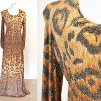 1970s Designer Gown Adele Simpson Animal Print Metallic Plus Size NWT