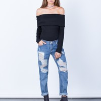 Destroyed Pocket Boyfriend Jeans