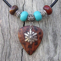 Redwood Burl - Big Guitar Pick Shaped Pendant with Silver Snowflake Necklace