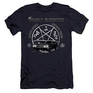 Supernatural Premium Canvas T-Shirt Family Business Quote Navy Tee