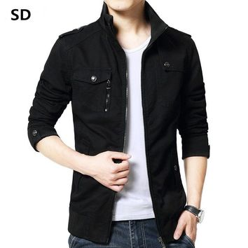 Trendy SD Brand Cargo Jacket Casual Men Jackets 2018 New Slim Fit Work Jackets Cotton Outerdoors Solid Color Overcoat Veste Homme 147 AT_94_13