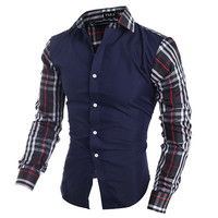 Checkered Sleeve Slim Fit Dress Shirt
