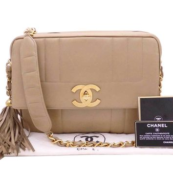 Auth CHANEL CC Fringe Tassel Chain Shoulder Bag Beige/Goldtone Leather - e31705