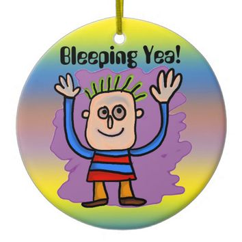 Bleeping Yea! Double-Sided Ceramic Round Christmas Ornament