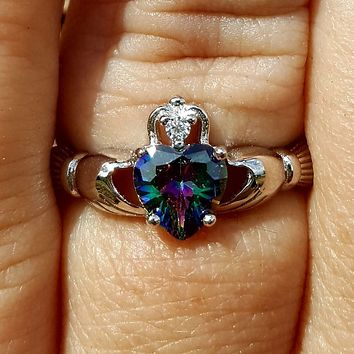 .925 Sterling Silver Rainbow Mystic Topaz CZ Claddagh Ring Size 3-13 Ladies and Girls Midi Knuckle Thumb