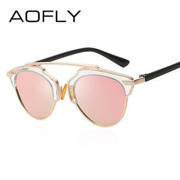 AOFLY Vintage Polarized Sunglasses Cat Eye Glasses Women Brand Designer Fashion Women Classic Eyewear Oculos With Original Box