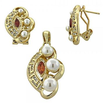 Gold Layered 10.91.0287 Earring and Pendant Adult Set, Greek Key Design, with  Pearl, Gold Tone