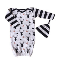 2Pcs Cute Stripe Deer Sleeping Bags Newborn Baby Boys Kids Jumpsuit+Hat Outfit Clothes Set
