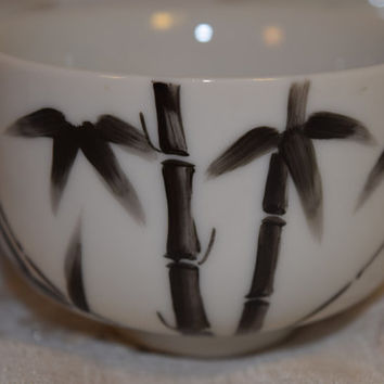 CDGC Bamboo Tea Cups Set of 5 Vintage Black and White Bamboo Painted Tea Bowls Japanese Tea Ceremony Bowls Set Made in Japan Hand Decorated