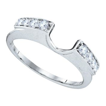 14kt White Gold Womens Round Diamond Ring Guard Wrap Solitaire Enhancer 1/4 Cttw