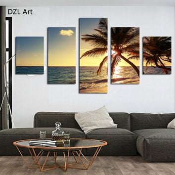 Unframed 5 Piece Beach coconut tree Modern Home Wall Decor Canvas Picture Art HD Print Painting On Canvas Artworks