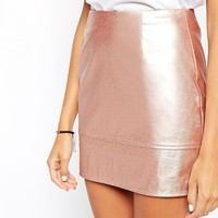 ASOS Mini Skirt In Leather Look In Rose Metallic
