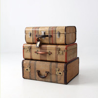 1930s striped luggage, vintage suitcase