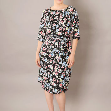 Black classic modest  midi dress, with belt and floral print