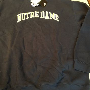 NOTRE DAME ADIDAS EMBROIDERED COLLEGE NCAA  SWEATSHIRT NAVY SHIPPING