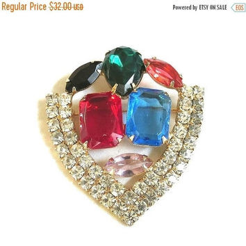 Multi Color Rhinestone Shield Brooch Vintage